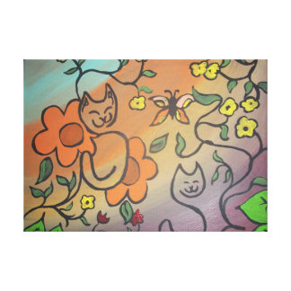Spring Cat Garden Stretched Canvas Prints