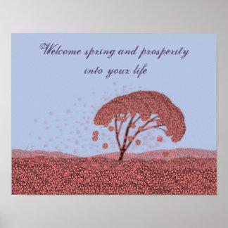 Spring celebration poster. Sakura purple poster