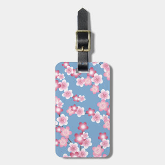 Spring Cherry Blossom Blooms on Blue Luggage Tag