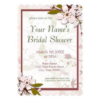 Spring Cherry Blossoms Bridal Shower 13 Cm X 18 Cm Invitation Card