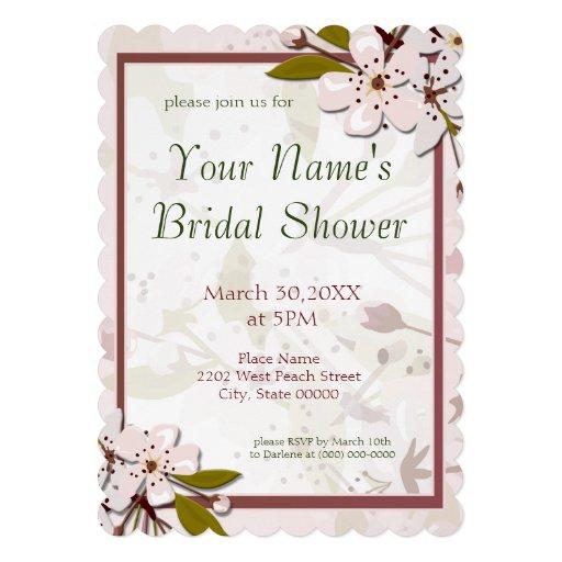 Spring Cherry Blossoms Bridal Shower Custom Announcement
