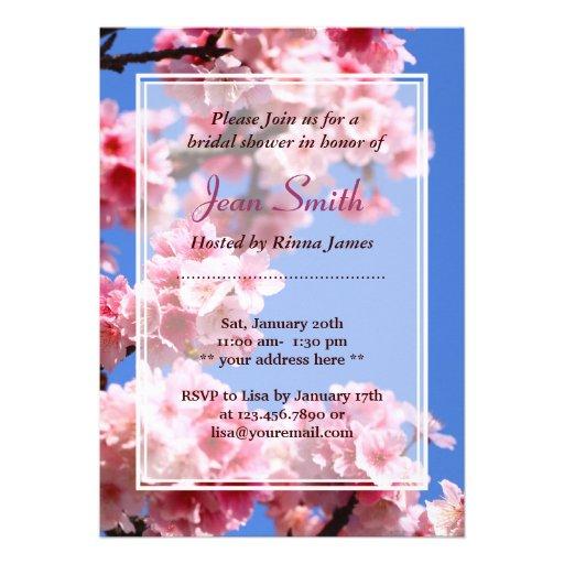Spring Cherry Blossoms Bridal Shower Invitation