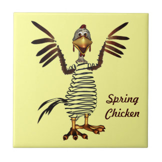 Spring Chicken Small Square Tile