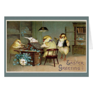 Spring Chicks Doing Taxes on Easter Greeting Card