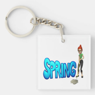 Spring Cleaning Single-Sided Square Acrylic Key Ring