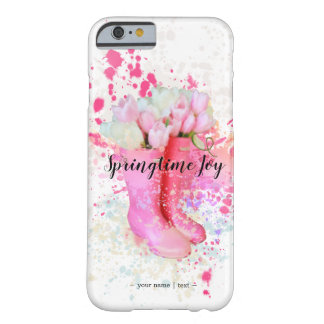 Spring Color Splash Watercolor Pink Boots & Tulips Barely There iPhone 6 Case