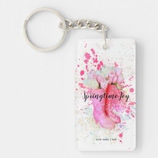 Spring Color Splash Watercolor Pink Boots & Tulips Key Ring