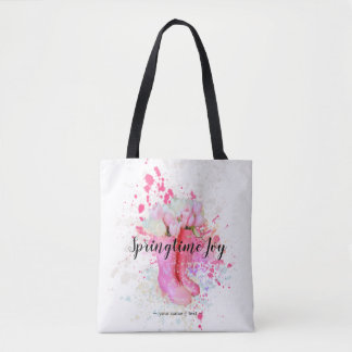Spring Color Splash Watercolor Pink Boots & Tulips Tote Bag