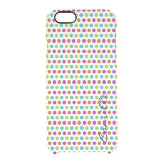 spring colored dots personalized by name clear iPhone 6/6S case