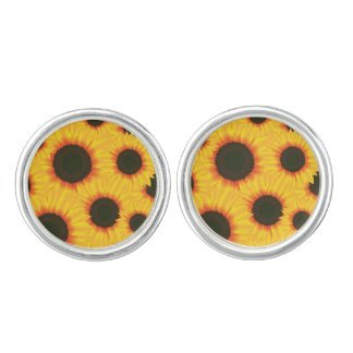Spring colorful pattern sunflower cufflinks