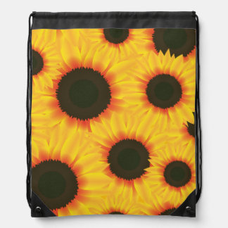 Spring colorful pattern sunflower drawstring bag