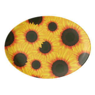 Spring colorful pattern sunflower porcelain serving platter
