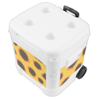 Spring colorful pattern sunflower rolling cooler