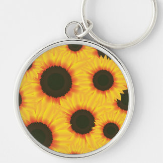 Spring colorful pattern sunflower Silver-Colored round key ring
