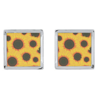 Spring colorful pattern sunflower silver finish cufflinks