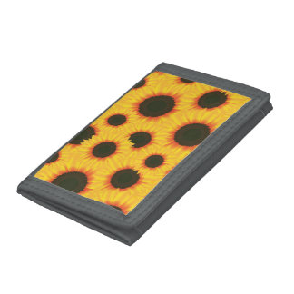 Spring colorful pattern sunflower trifold wallets