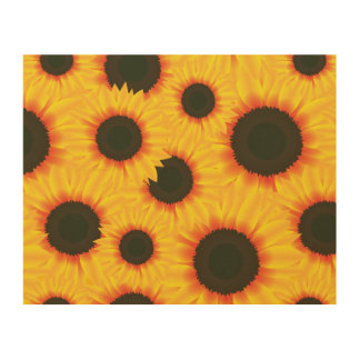 Spring colorful pattern sunflower wood print