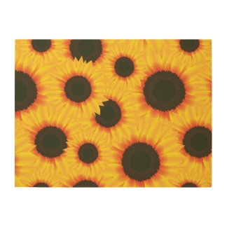 Spring colorful pattern sunflower wood wall art