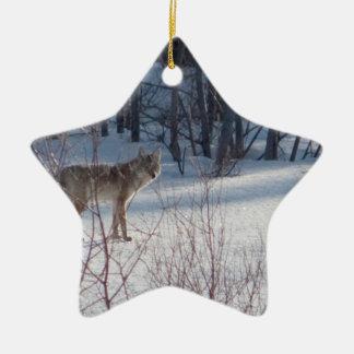 Spring Coyote Ceramic Ornament