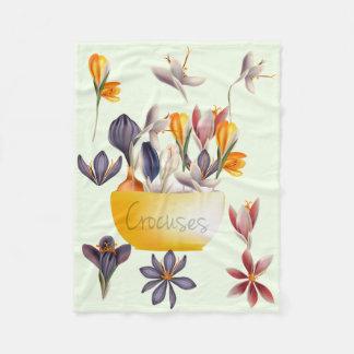 Spring crocus flowers fleece blanket