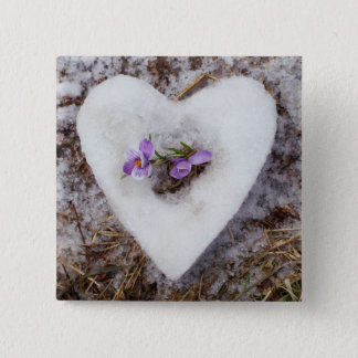 Spring crocus in snow heart photograph 15 cm square badge