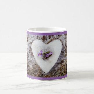 Spring crocus in snow heart photograph coffee mug