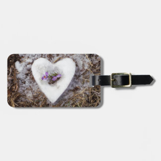 Spring crocus in snow heart photograph luggage tag