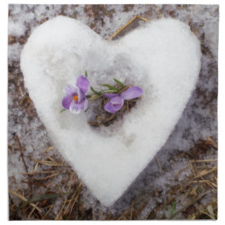 Spring crocus in snow heart photograph napkin