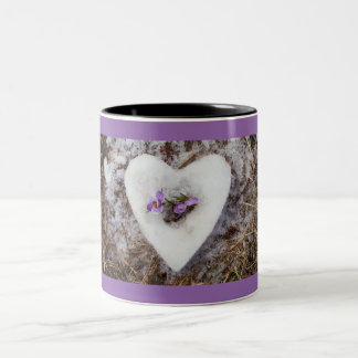 Spring crocus in snow heart photograph Two-Tone coffee mug