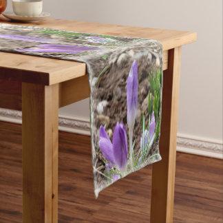 Spring crocuses short table runner