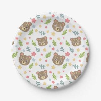 Spring Cute Bear 7 Inch Paper Plate