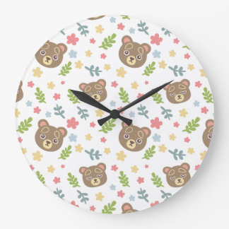 Spring Cute Bear Large Clock