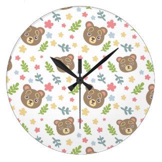 Spring Cute Bear Wall Clock