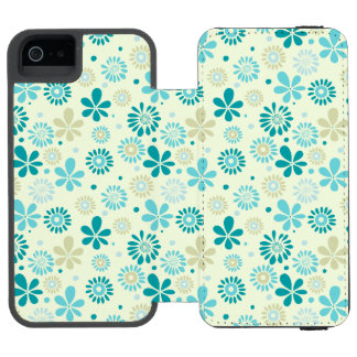 Spring Cute Teal Blue Abstract Flowers Pattern Incipio Watson™ iPhone 5 Wallet Case