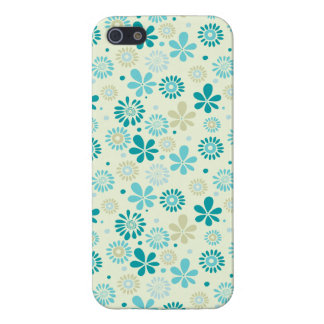 Spring Cute Teal Blue Abstract Flowers Pattern iPhone 5/5S Cover