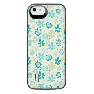 Spring Cute Teal Blue Abstract Flowers Pattern iPhone SE/5/5s Battery Case