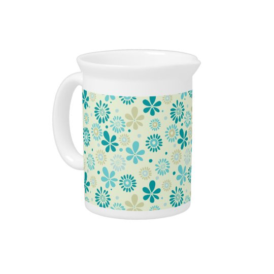 Spring Cute Teal Blue Abstract Flowers Pattern Pitcher
