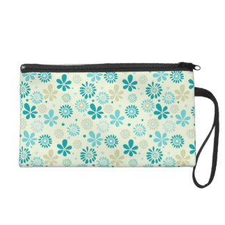 Spring Cute Teal Blue Abstract Flowers Pattern Wristlet Clutch