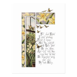 Spring Daffodils & Butterflies Vintage Easter Postcard