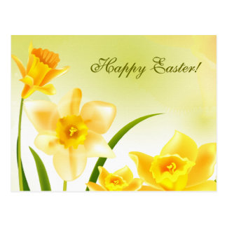 Spring Daffodils. Customisable Easter Postcards