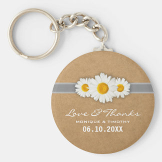 Spring Daisies Faux Rustic Paper Wedding Thank You Basic Round Button Key Ring