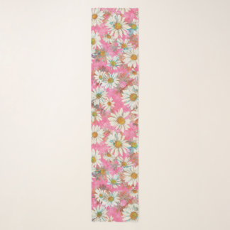 Spring Daisies on Pink Scarf
