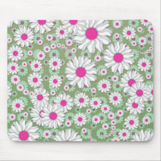 Spring Daisies White Pink Green Mouse Pad