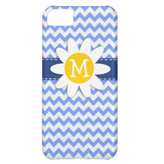 Spring Daisy; Blue Chevron Pattern Case For iPhone 5C