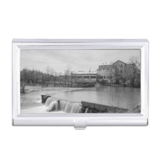 Spring Day At Ozark Mill Grayscale Business Card Holder