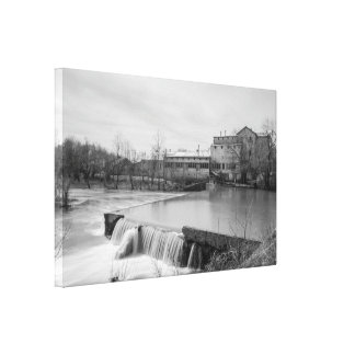 Spring Day At Ozark Mill Grayscale Canvas Print
