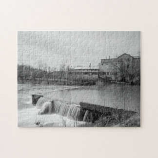 Spring Day At Ozark Mill Grayscale Jigsaw Puzzle