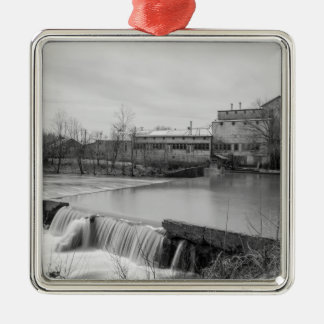 Spring Day At Ozark Mill Grayscale Metal Ornament