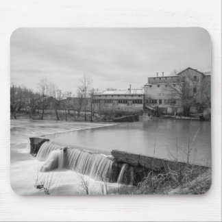 Spring Day At Ozark Mill Grayscale Mouse Pad