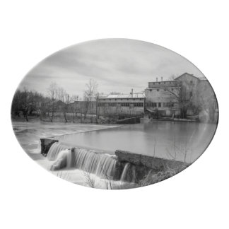 Spring Day At Ozark Mill Grayscale Porcelain Serving Platter